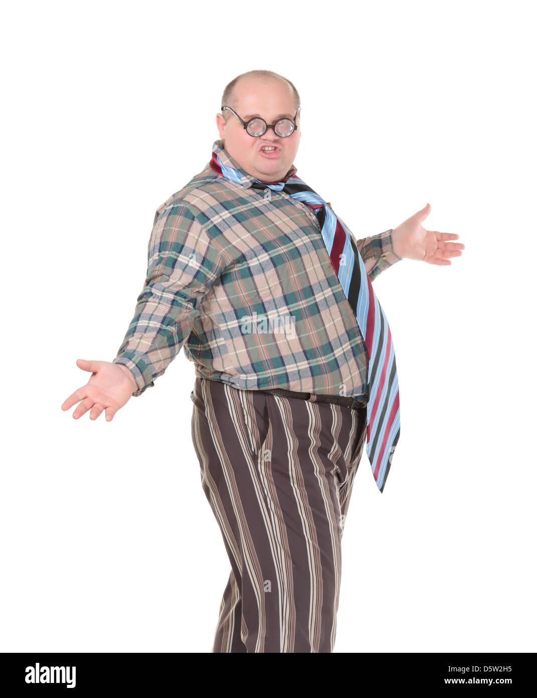 Uomo obesi con uno scandaloso senso di moda Immagini Stock
