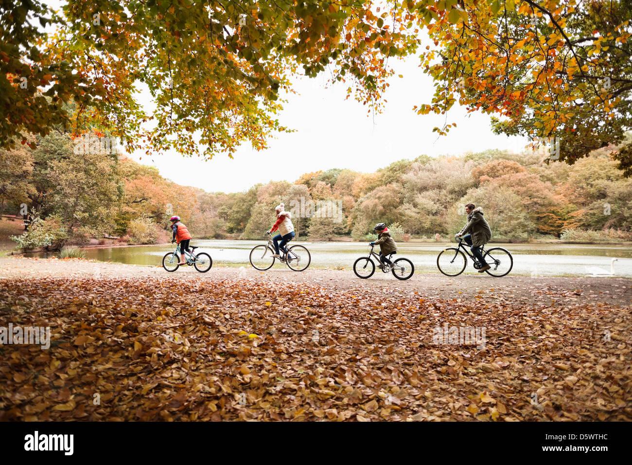 Famiglia di andare in bicicletta nel parco Immagini Stock