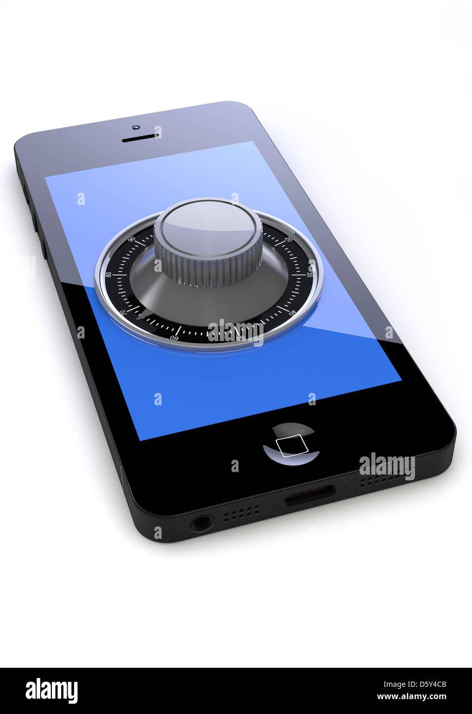 IPhone con una combinazione di serratura di sicurezza sullo schermo - internet / informazioni personali sicurezza Immagini Stock