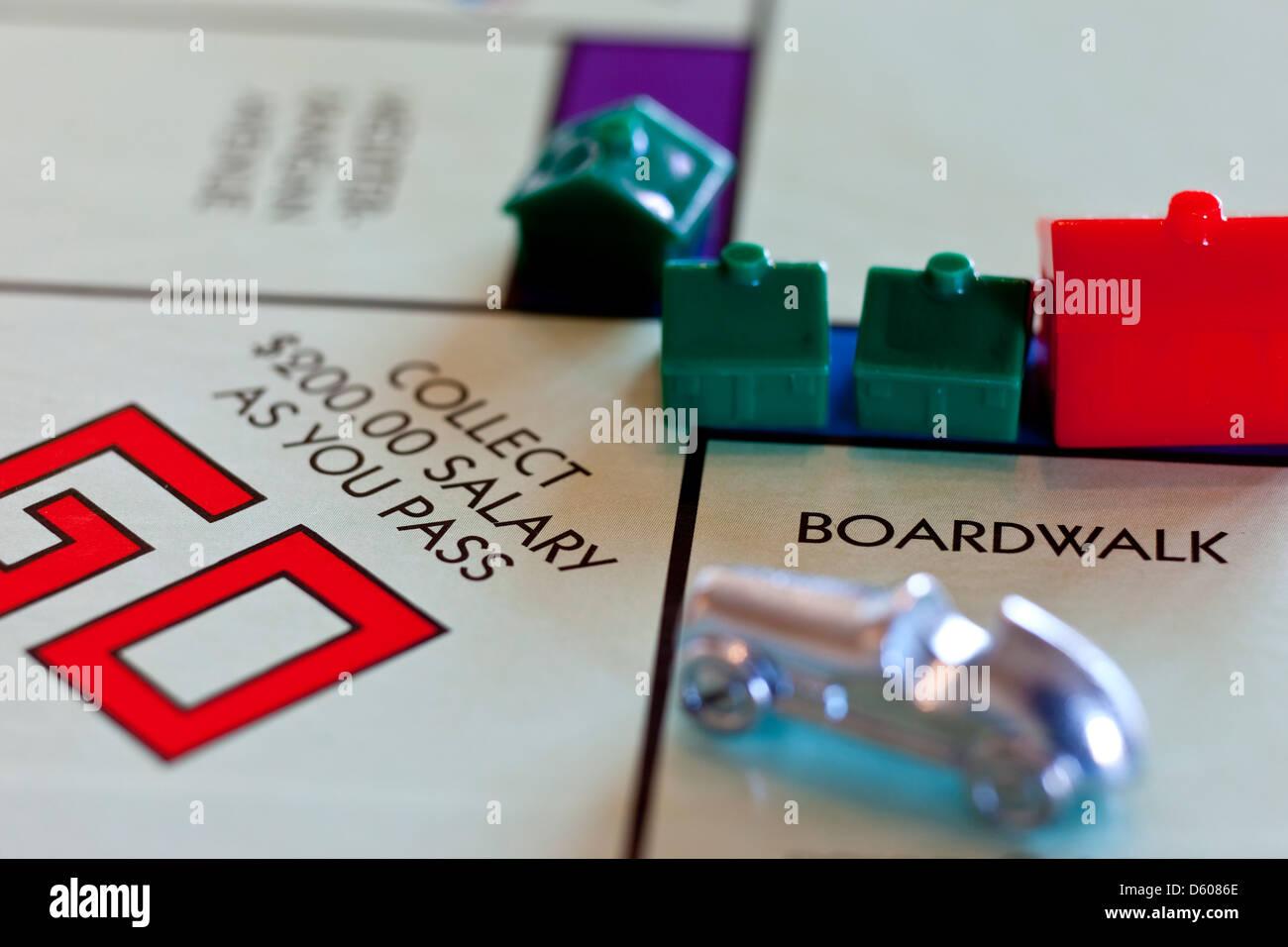 Gioco di monopoli - Pass Vai, raccogliere $200 Immagini Stock