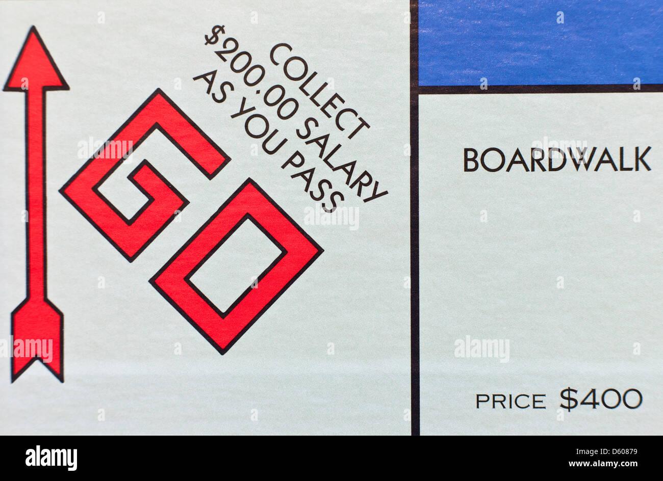 Gioco di monopoli - Go, raccogliere $200 Immagini Stock