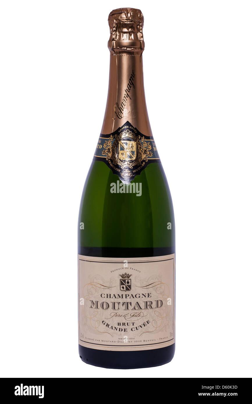 Una bottiglia di Champagne Moutard su sfondo bianco Immagini Stock