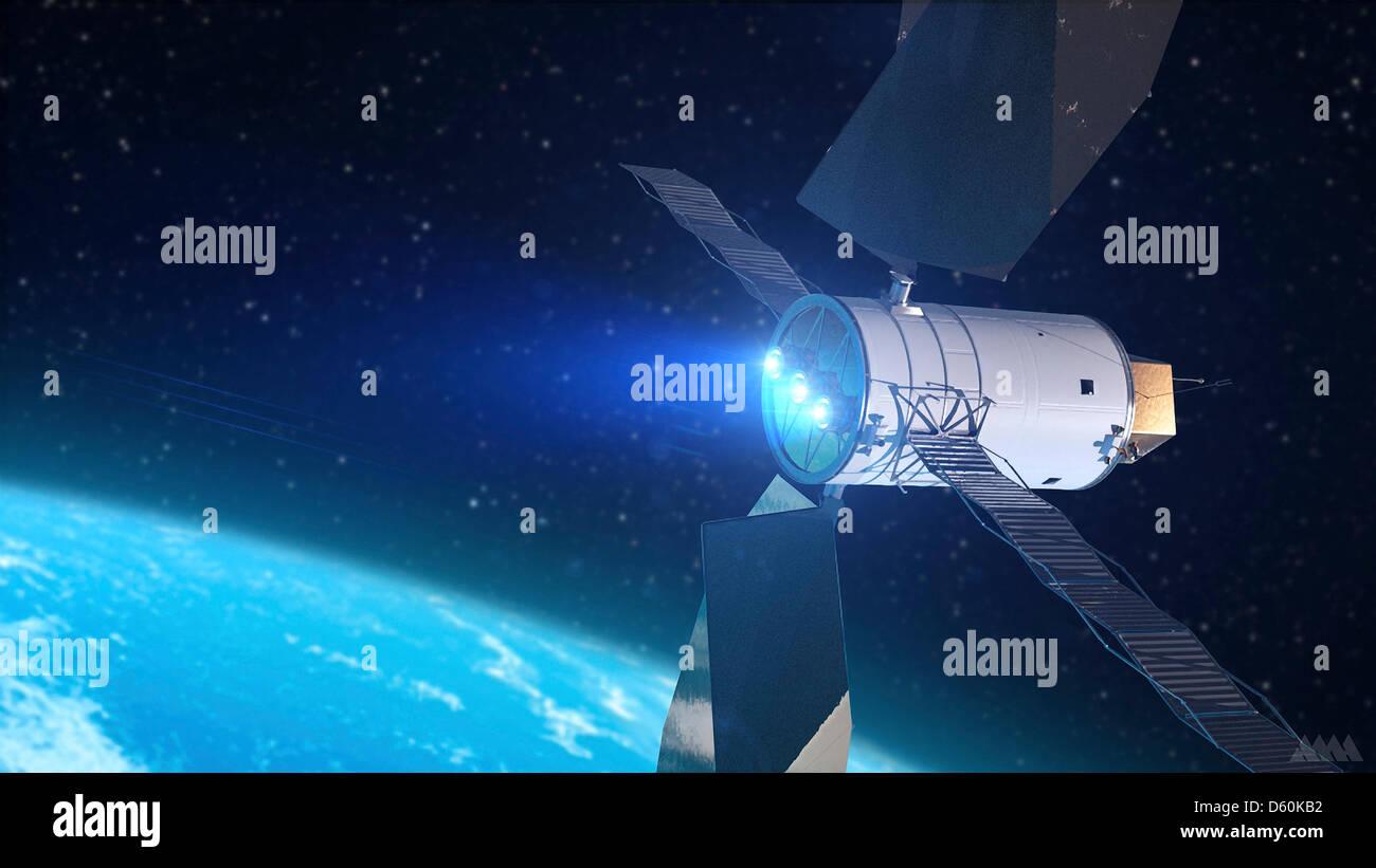 Concetto di artisti di un solare la propulsione elettrica in base veicolo spaziale durante la NASA ha la missione Immagini Stock