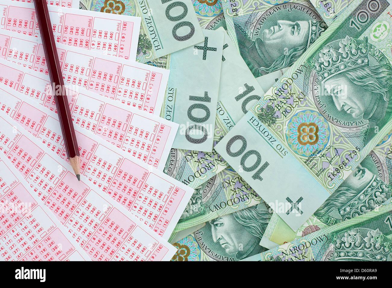 Lotto ticket in valuta polacca Immagini Stock