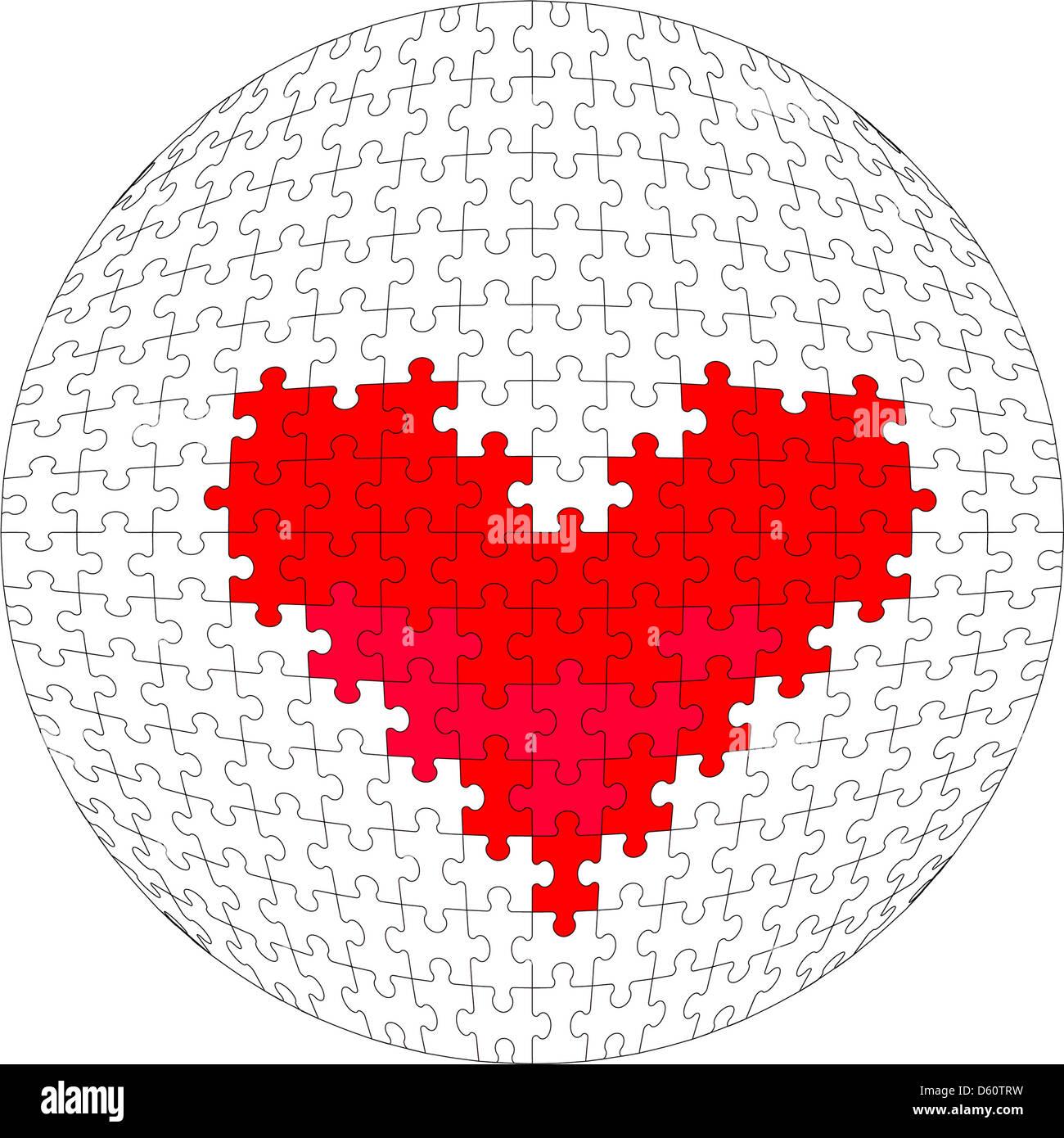 3d sfera puzzle a colori 28 Immagini Stock