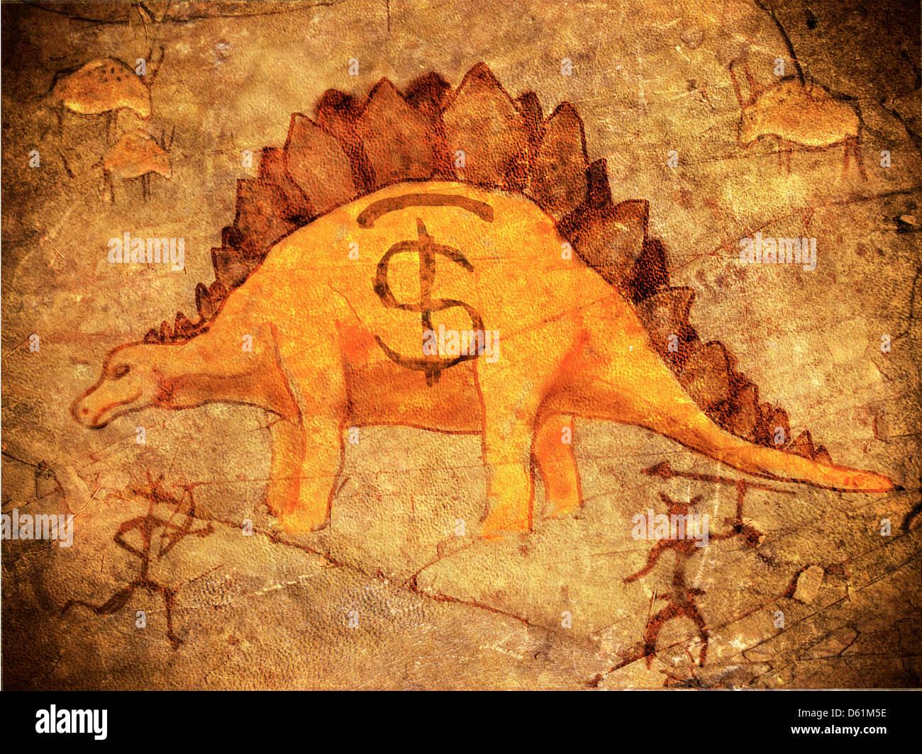 Preistoria salvadanaio con dinosauro Immagini Stock