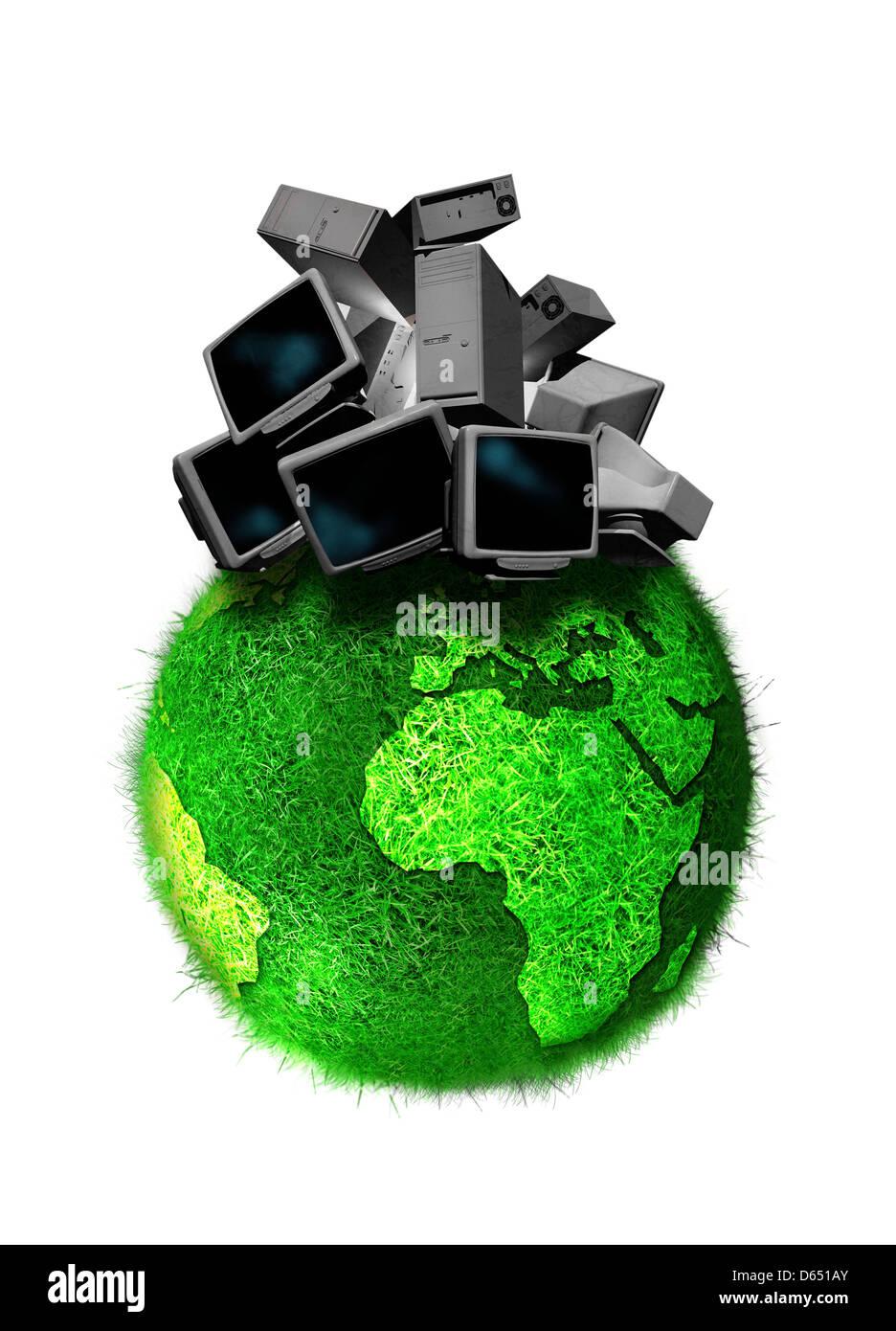 Il riciclaggio tecnologia obsoleta, artwork Immagini Stock