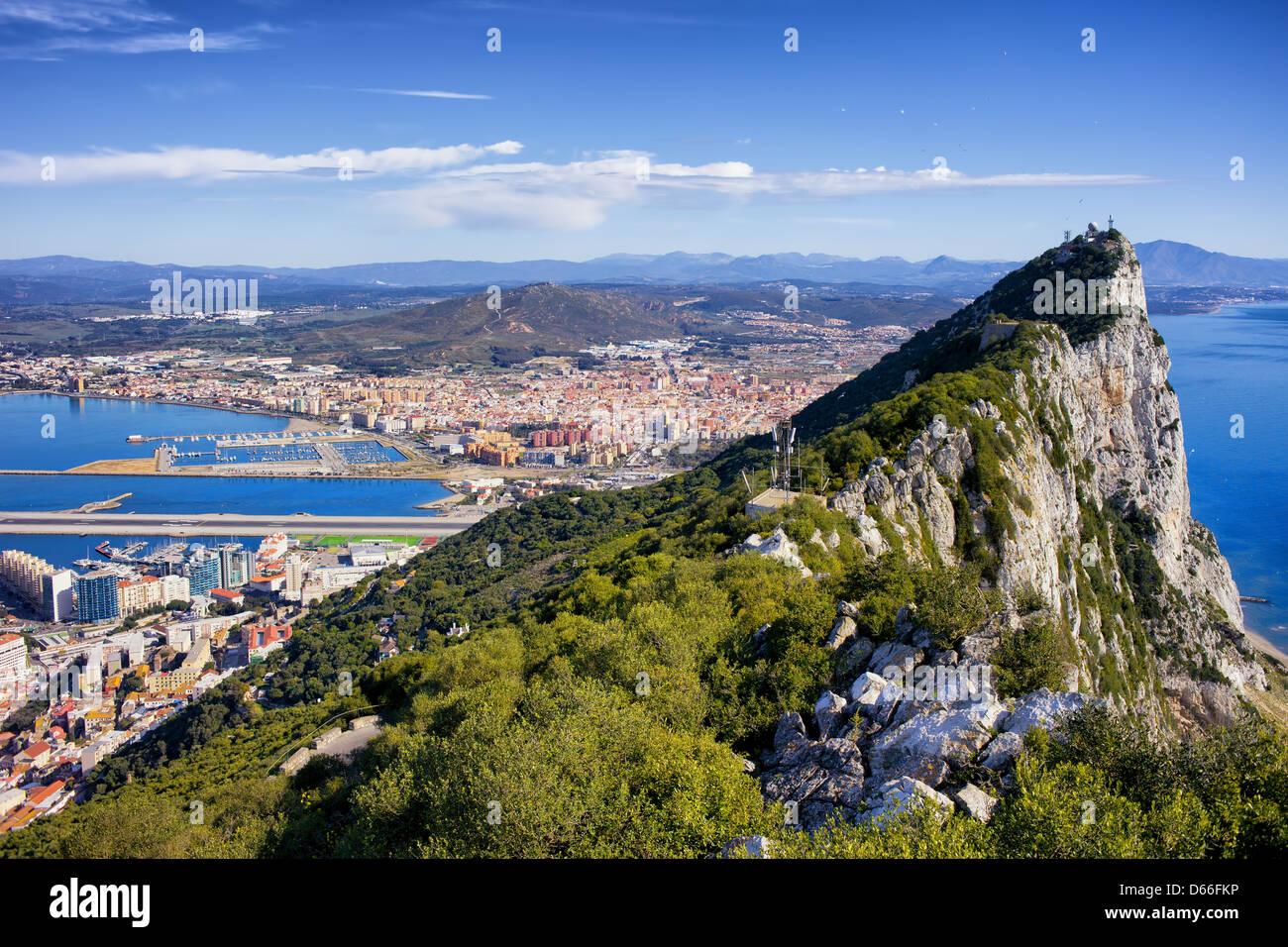 Rocca di Gibilterra nella parte meridionale della penisola iberica. Foto Stock