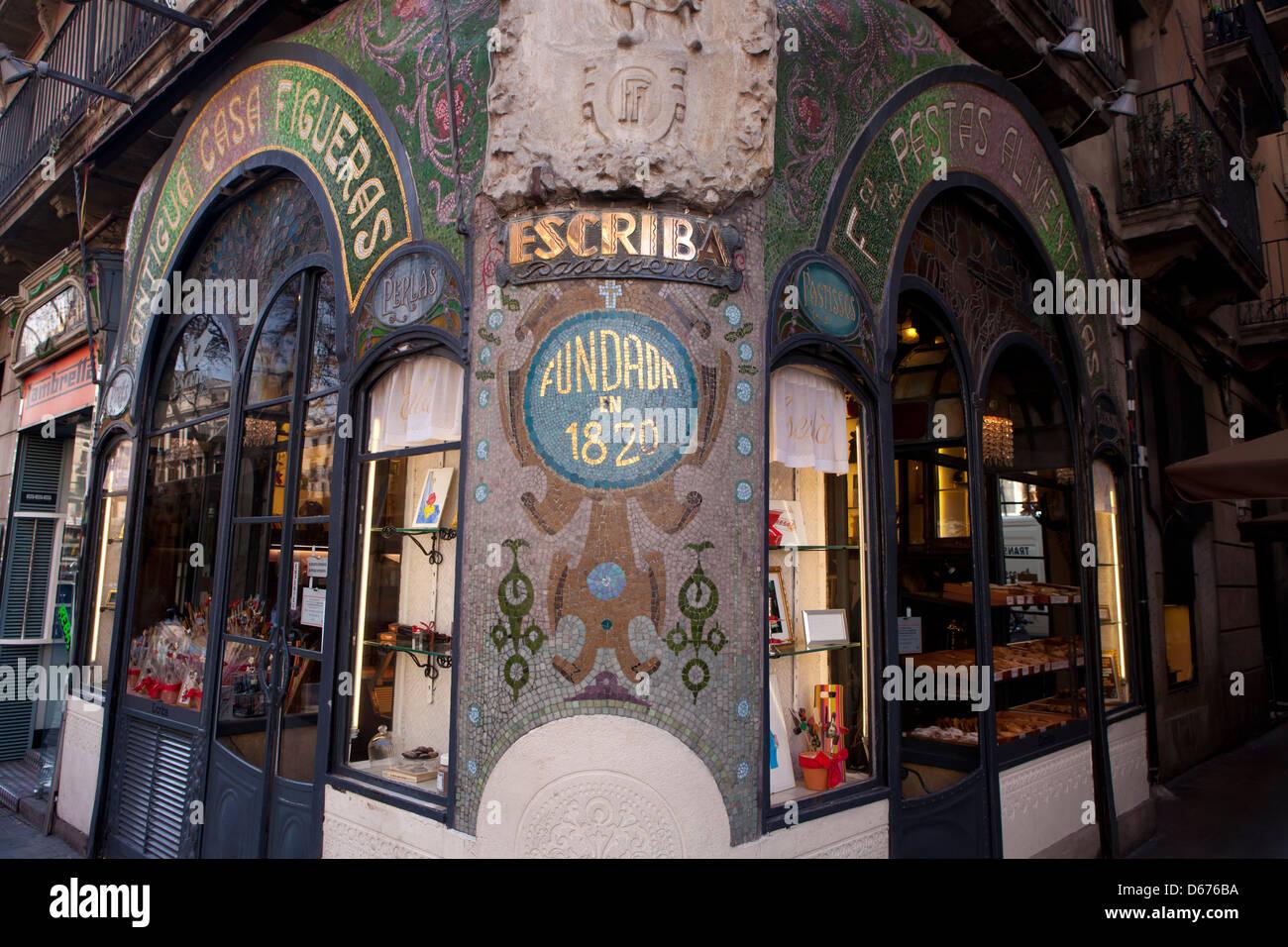 Antigua Casa Figueras a Las Ramblas di Barcellona, Spagna Immagini Stock