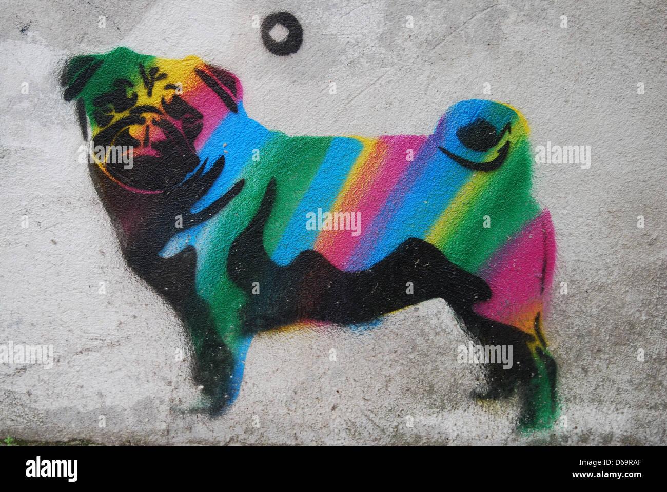 Cane,streetart,stencil Immagini Stock
