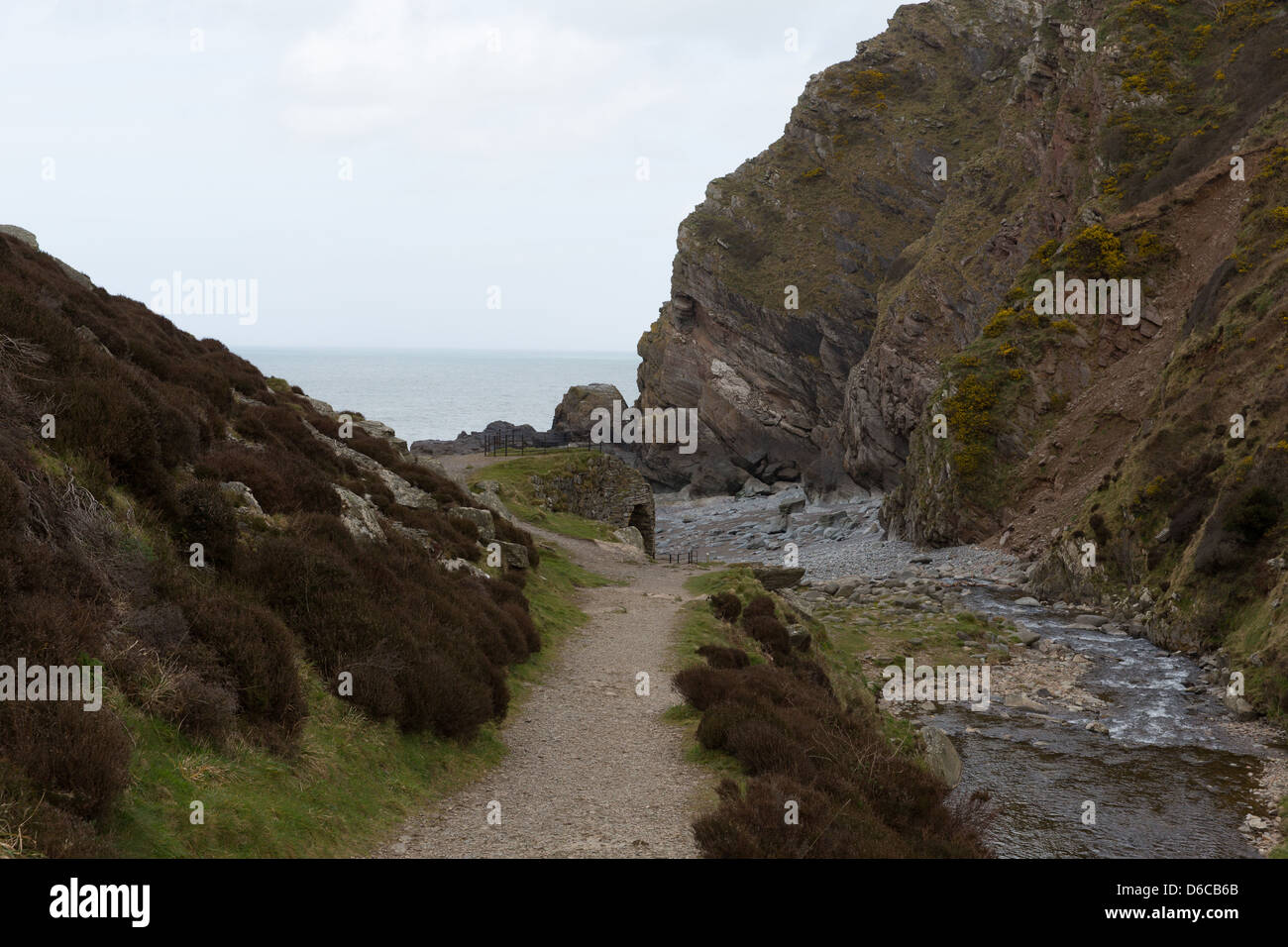 Heddon Valley Parco Nazionale di Exmoor Devon che conduce alla spiaggia di Heddons bocca. Circondata da colline Immagini Stock