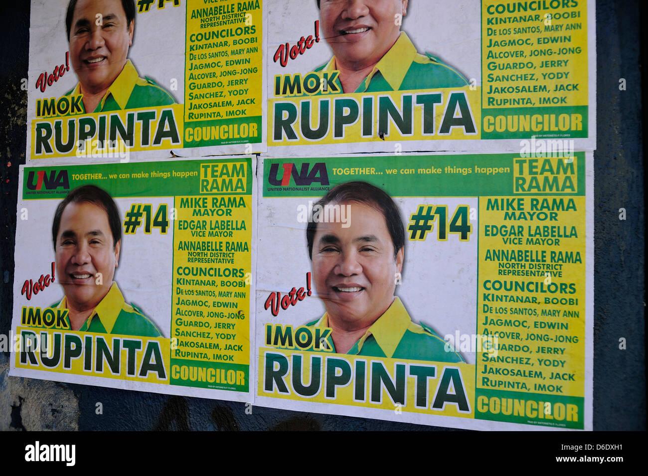 Poster per metà termine elezioni filippine 2013 Cebu Filippine Foto Stock