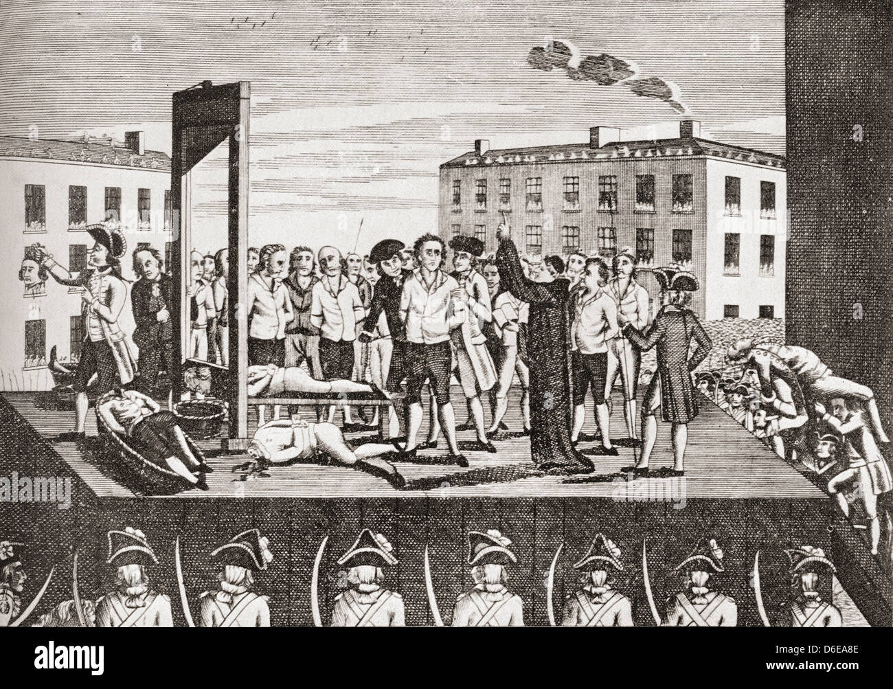 L'esecuzione di Jacques Pierre Brissot, 1754 - 1793, aka de Warville. Immagini Stock