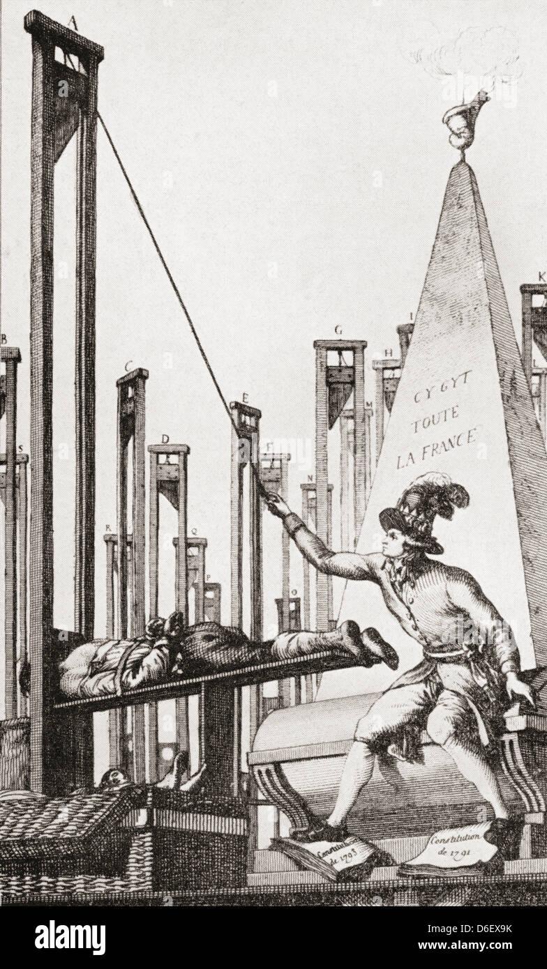 Cartone animato che mostra Robespierre guillotining il carnefice dopo aver ghigliottinato chiunque altro in Francia. Immagini Stock