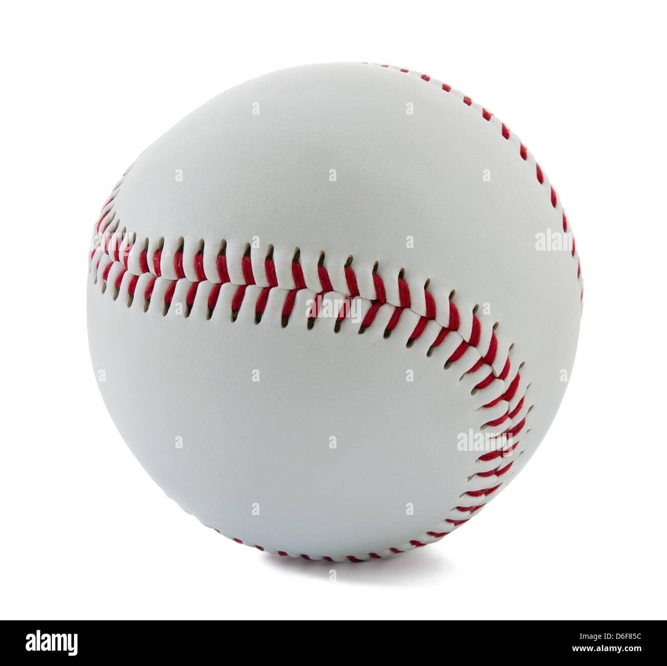 Palla da baseball su sfondo bianco Foto Stock