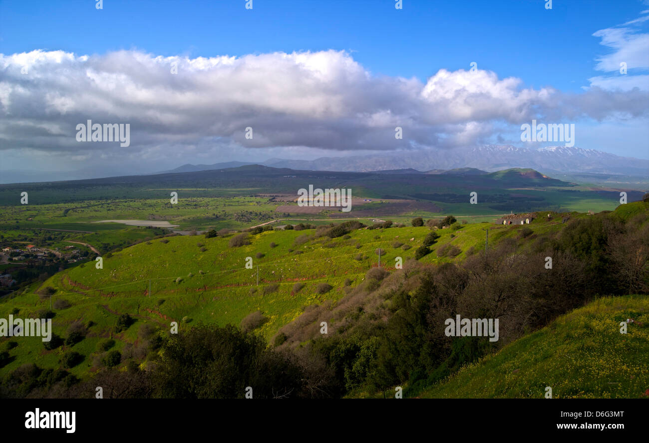 Viste del monte Hermon dal Monte Avital - Monte Bental Riserva Naturale, Golan, Israele Immagini Stock