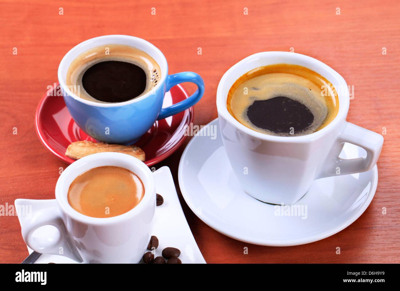 Tre tazze di caffè Immagini Stock