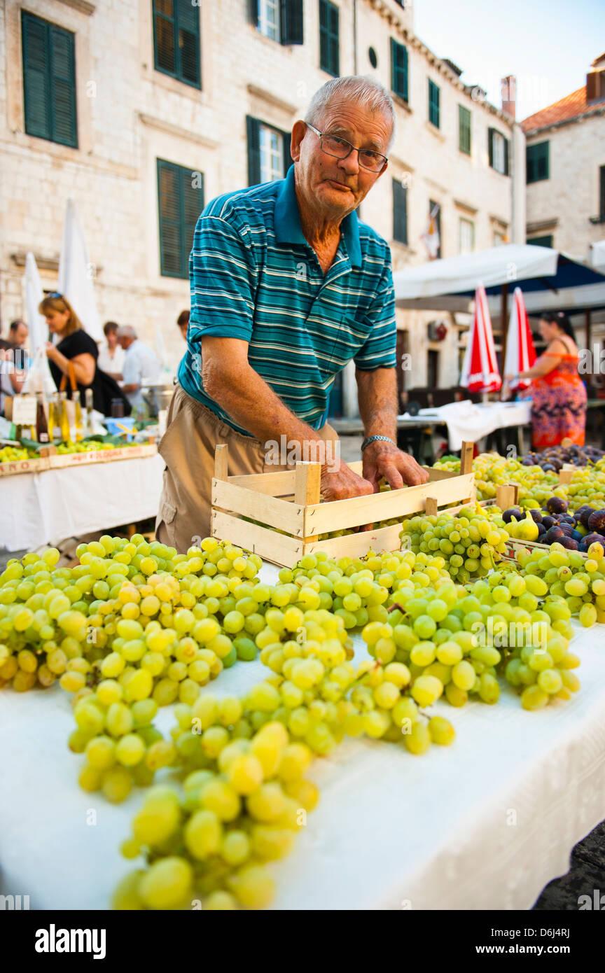 Venditore al mercato di Dubrovnik per configurare il suo stallo per Gundulic mercato della frutta in Piazza Gundulic, Immagini Stock