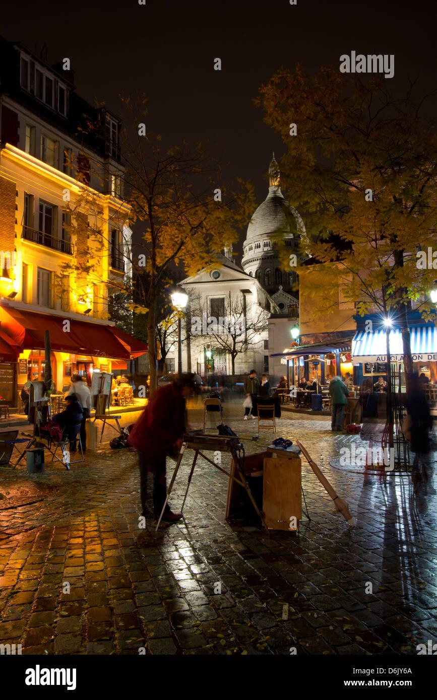 Il Sacre Coeur e Montmartre in una notte piovosa, Parigi, Francia, Europa Immagini Stock