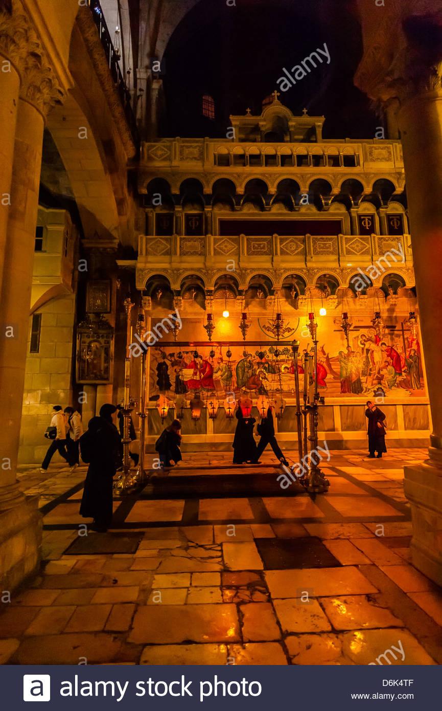 Chiesa del Santo Sepolcro, il quartiere cristiano, la Città Vecchia di Gerusalemme, Israele. Immagini Stock