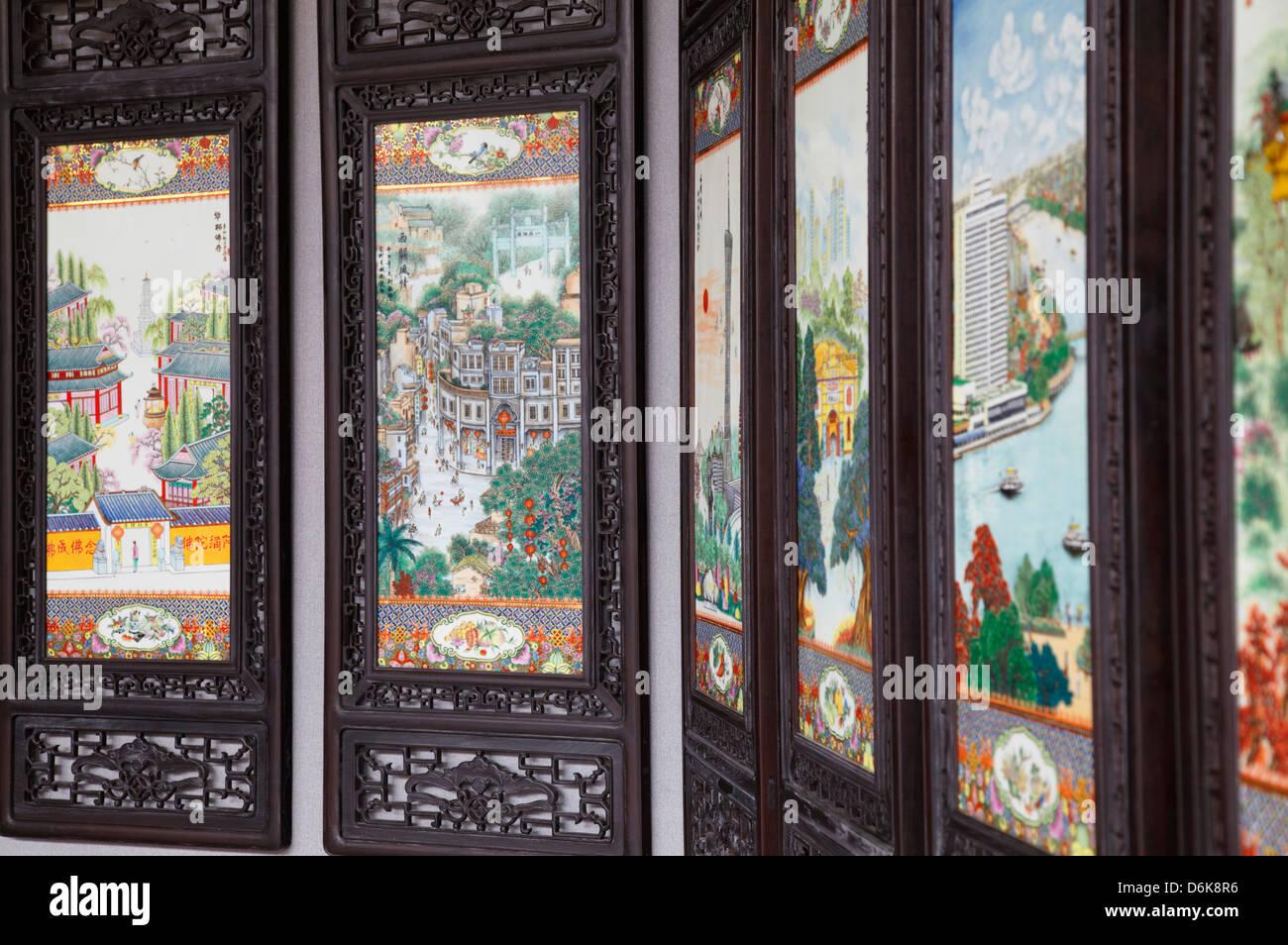 Schermate di decorazione all'Accademia del Clan Chen, Guangzhou, Guangdong, Cina e Asia Immagini Stock