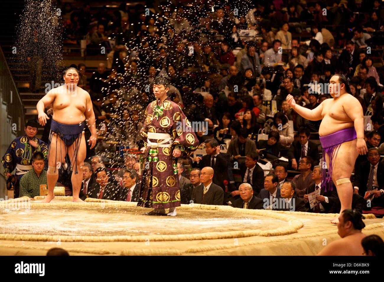 Alcuni lottatori di sumo gettando sale prima di una lotta al Kokugikan stadium, Tokyo, Giappone, Asia Immagini Stock