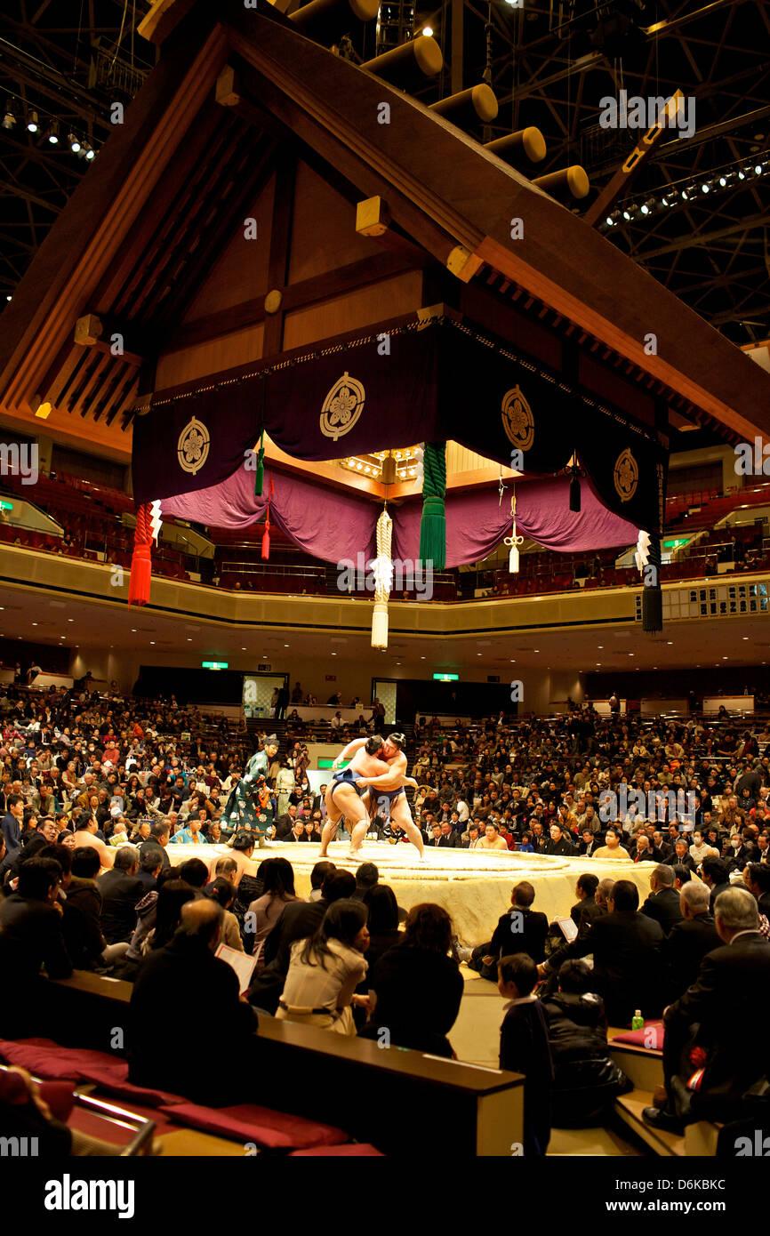 Sumo wrestling concorso al Kokugikan stadium, Tokyo, Giappone, Asia Foto Stock
