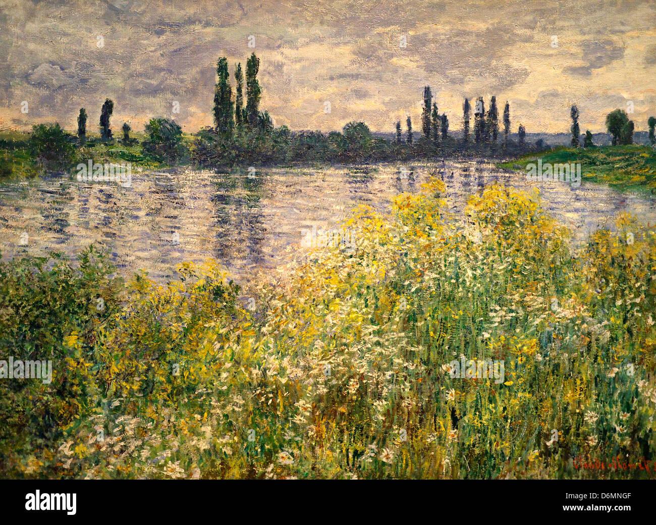 Le rive della Senna, Vetheuil da Claude Monet Immagini Stock