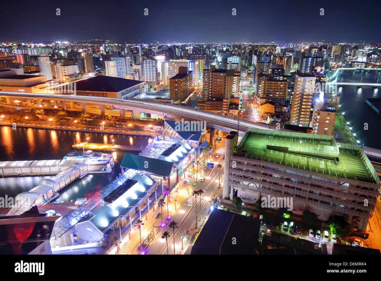 Fukuoka, Giappone cityscape Immagini Stock
