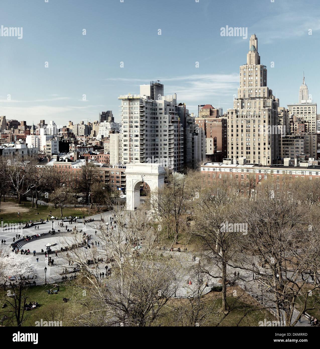 Washington Square Park di New York City Immagini Stock
