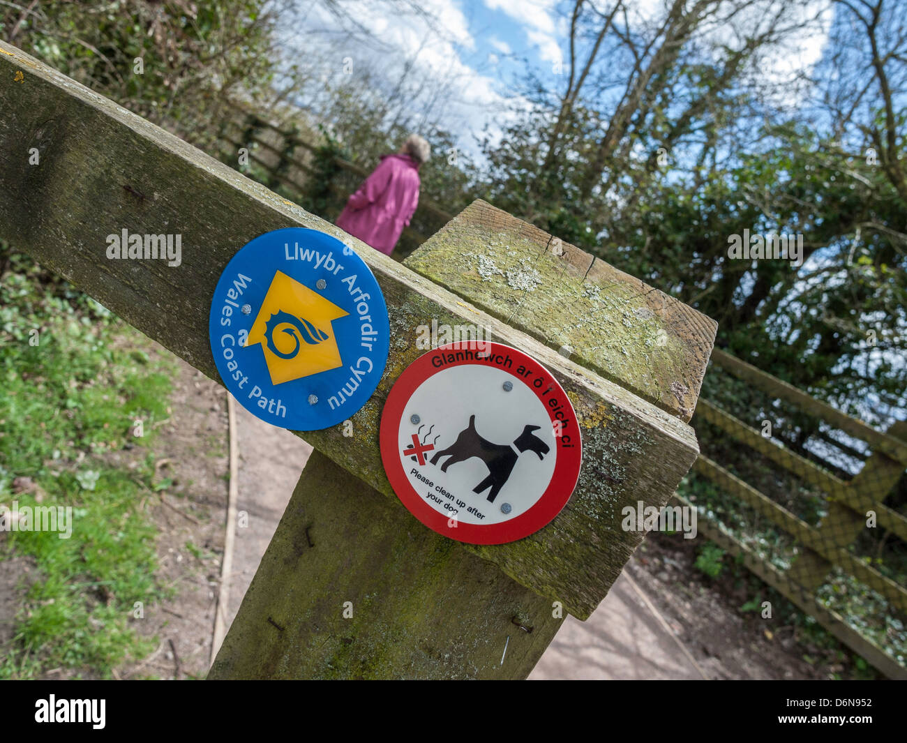 Indicazioni sulla costa del Galles percorso in corrispondenza di Black Rock vicino PORTSKEWETT MONMOUTHSHIRE Wales Immagini Stock