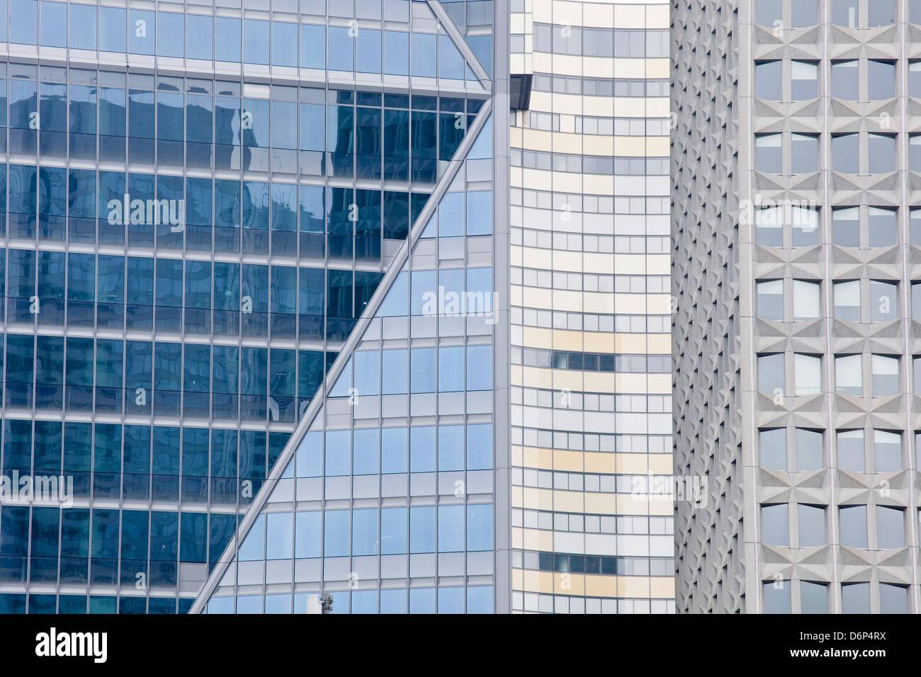 Abstract di edifici nel quartiere de La Defense, Parigi, Francia, Europa Immagini Stock