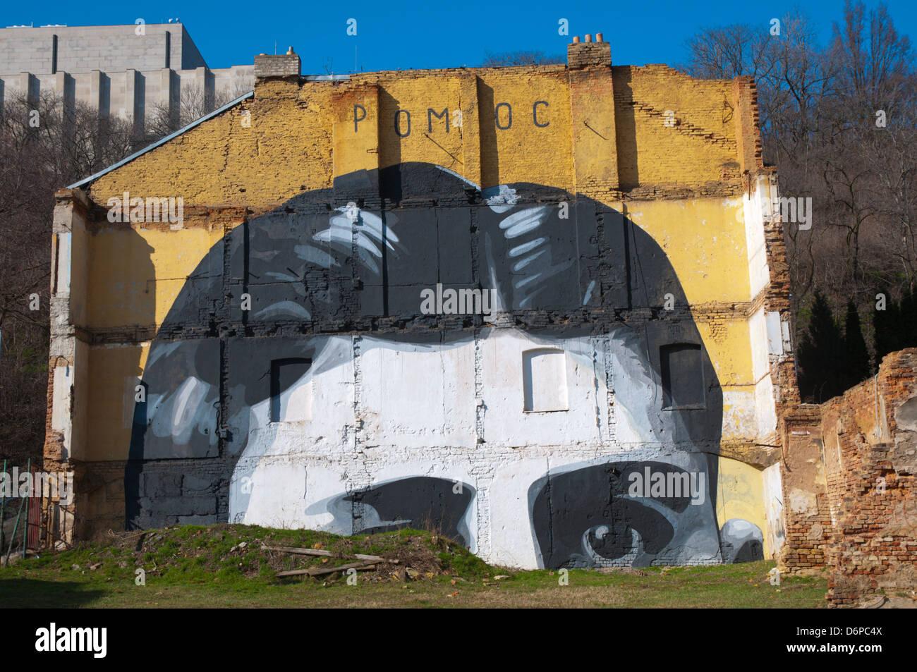 Franz Kafka graffiti a tema Zizkov quartiere Praga Repubblica Ceca Europa Immagini Stock