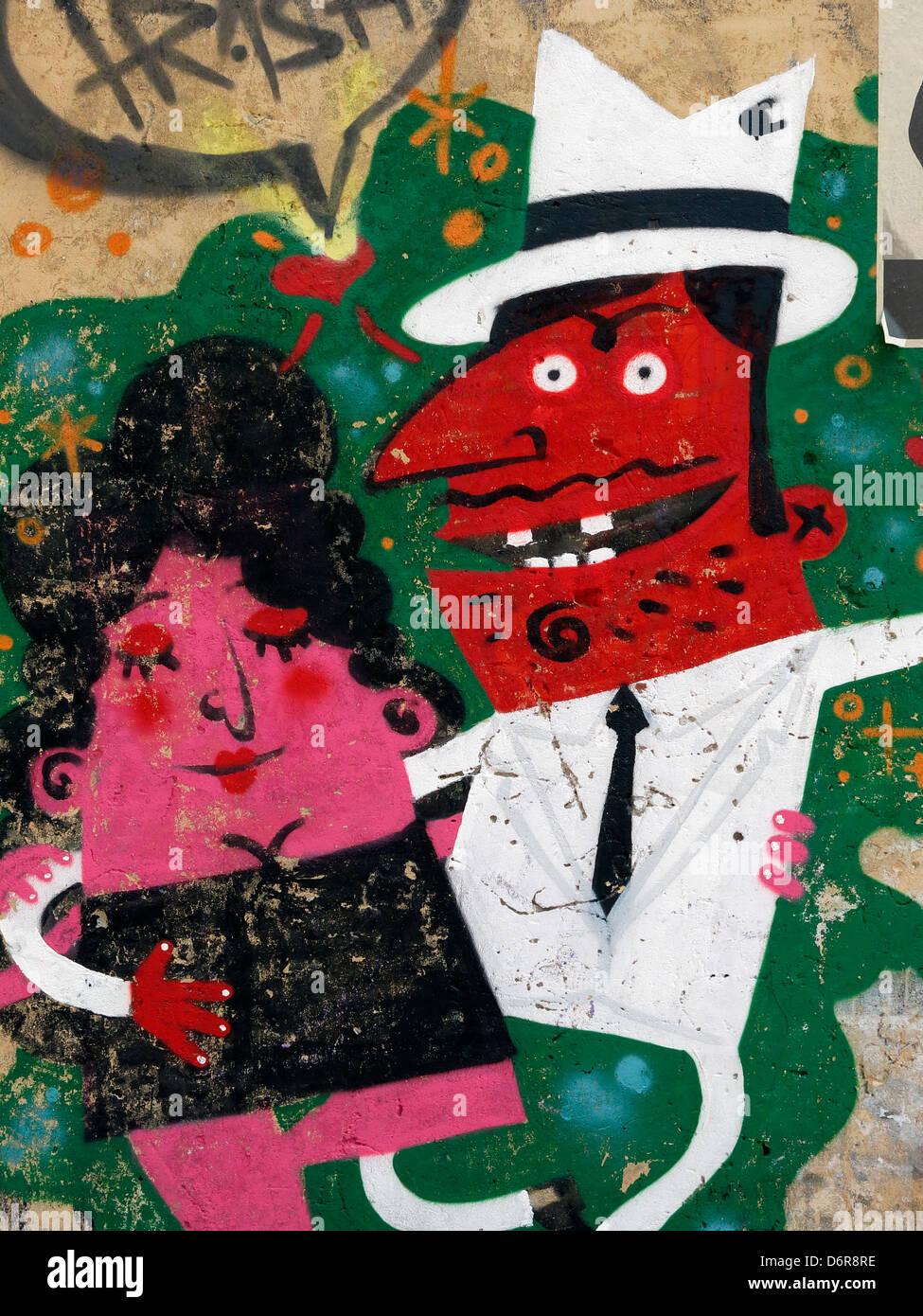 Arte di strada murale a Bogotà, in Colombia. Immagini Stock