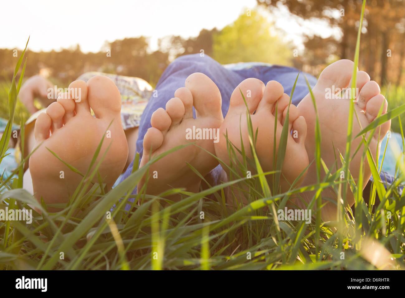 Picnic sull'erba Immagini Stock