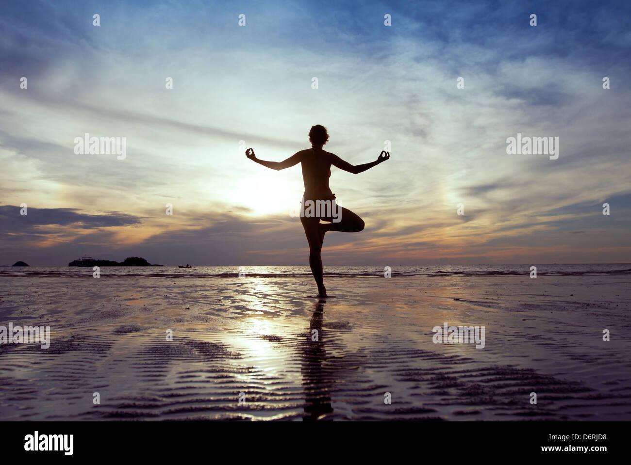 Concetto di benessere, bella silhouette di donna a praticare yoga Immagini Stock