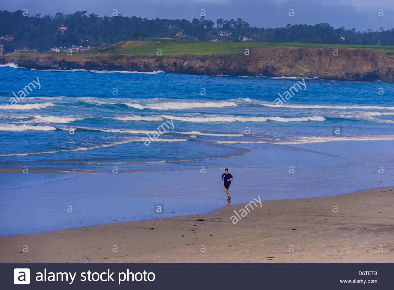 Scena di spiaggia, Carmelo, Monterey County, California, Stati Uniti d'America Immagini Stock
