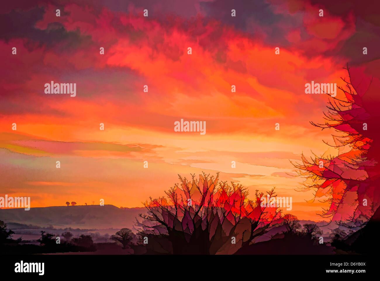 La deliberata interpretazione artistica del paesaggio originale fotografia per simulare il riscaldamento globale Immagini Stock