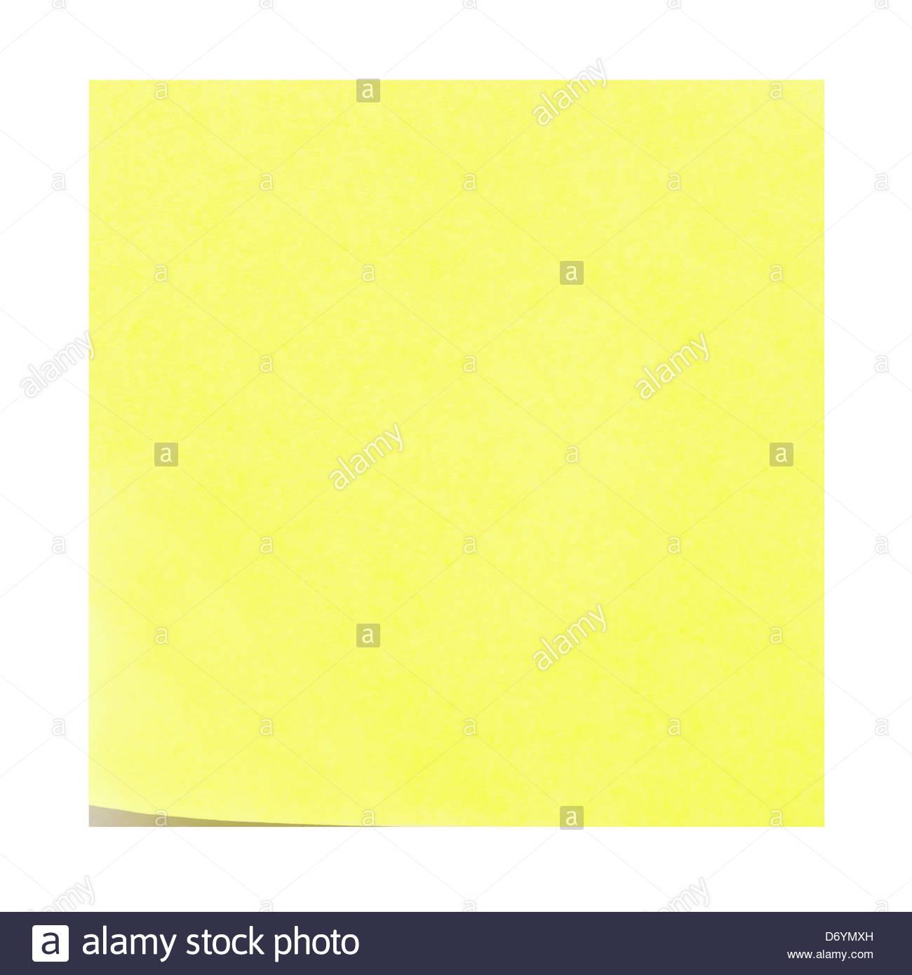 Blank bigliettino giallo. Post-it con il peeling ad angolo verso l'alto. Immagini Stock