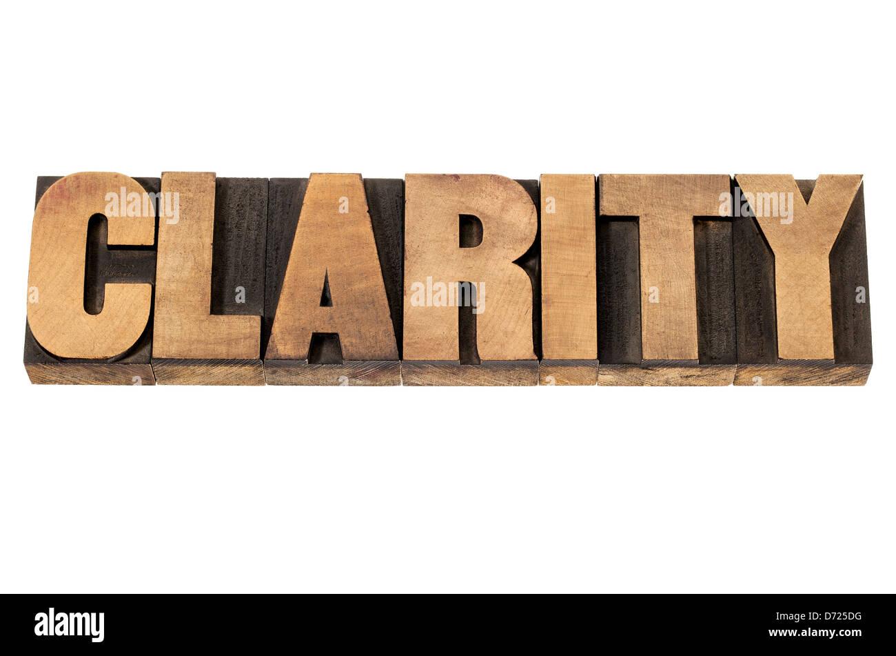Parola di chiarezza - testo isolato in rilievografia vintage tipo legno blocchi di stampa Immagini Stock