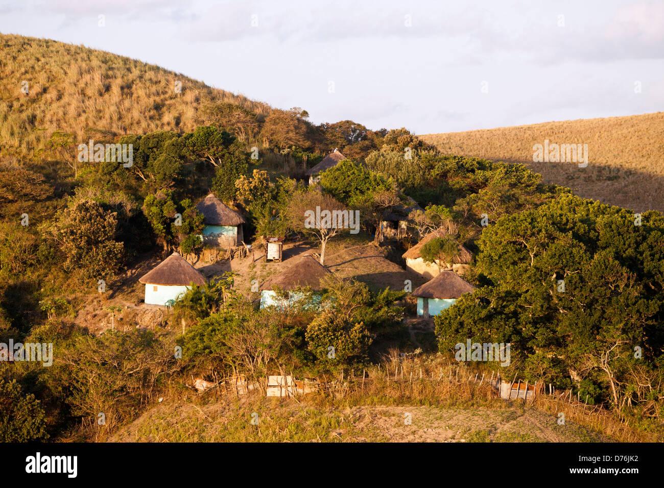 Xhosa Village a Wild Coast, Mbotyi, cappuccio Orientale, Sud Africa Immagini Stock