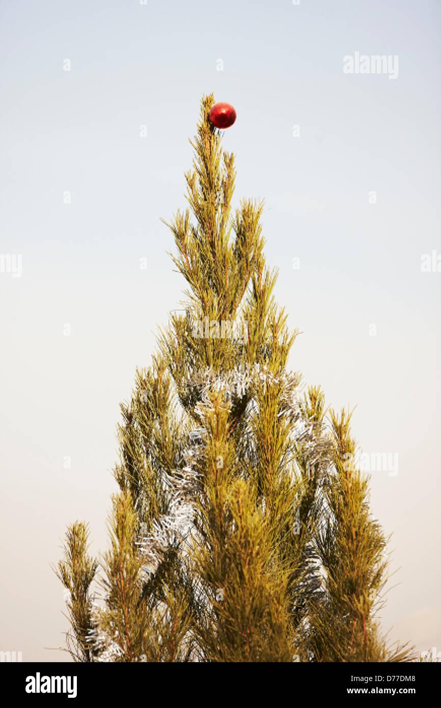 Tree ornato festa di Natale a sfera quartier generale della NATO a Kabul in Afghanistan Immagini Stock