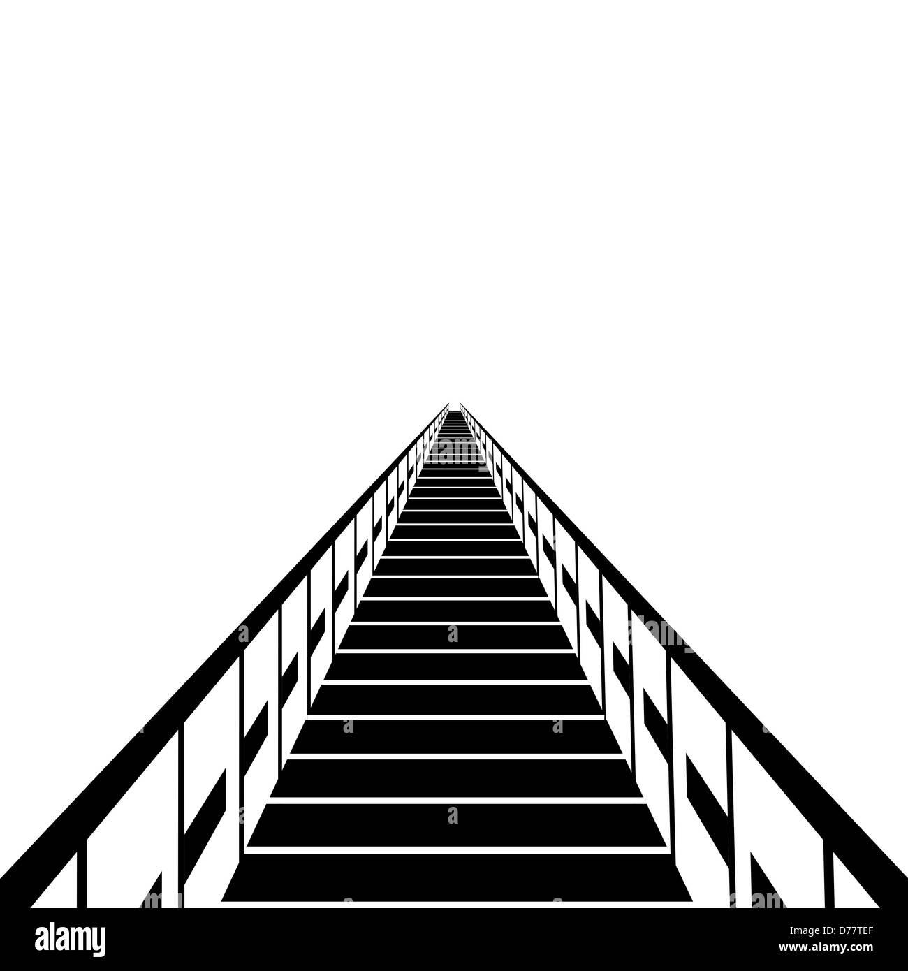 Un traghetto in legno. Bianco e nero illustrazione su uno sfondo bianco. Immagini Stock