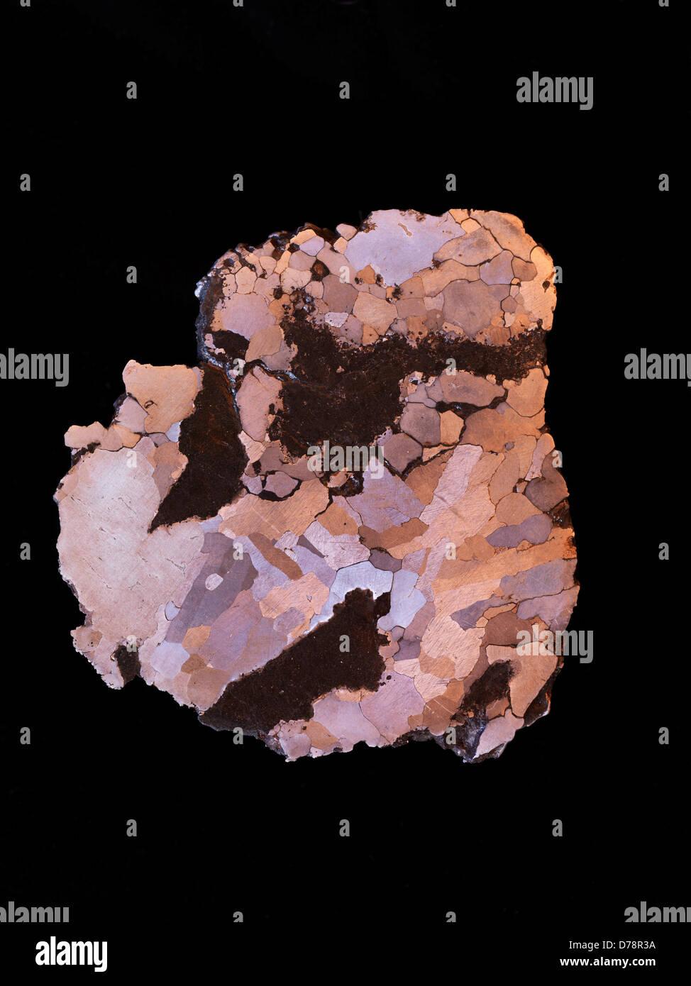 In Campo del Cielo meteorite ferroso dello strato lucido inciso per mostrare la struttura Widmanstatten grandi cristalli Immagini Stock
