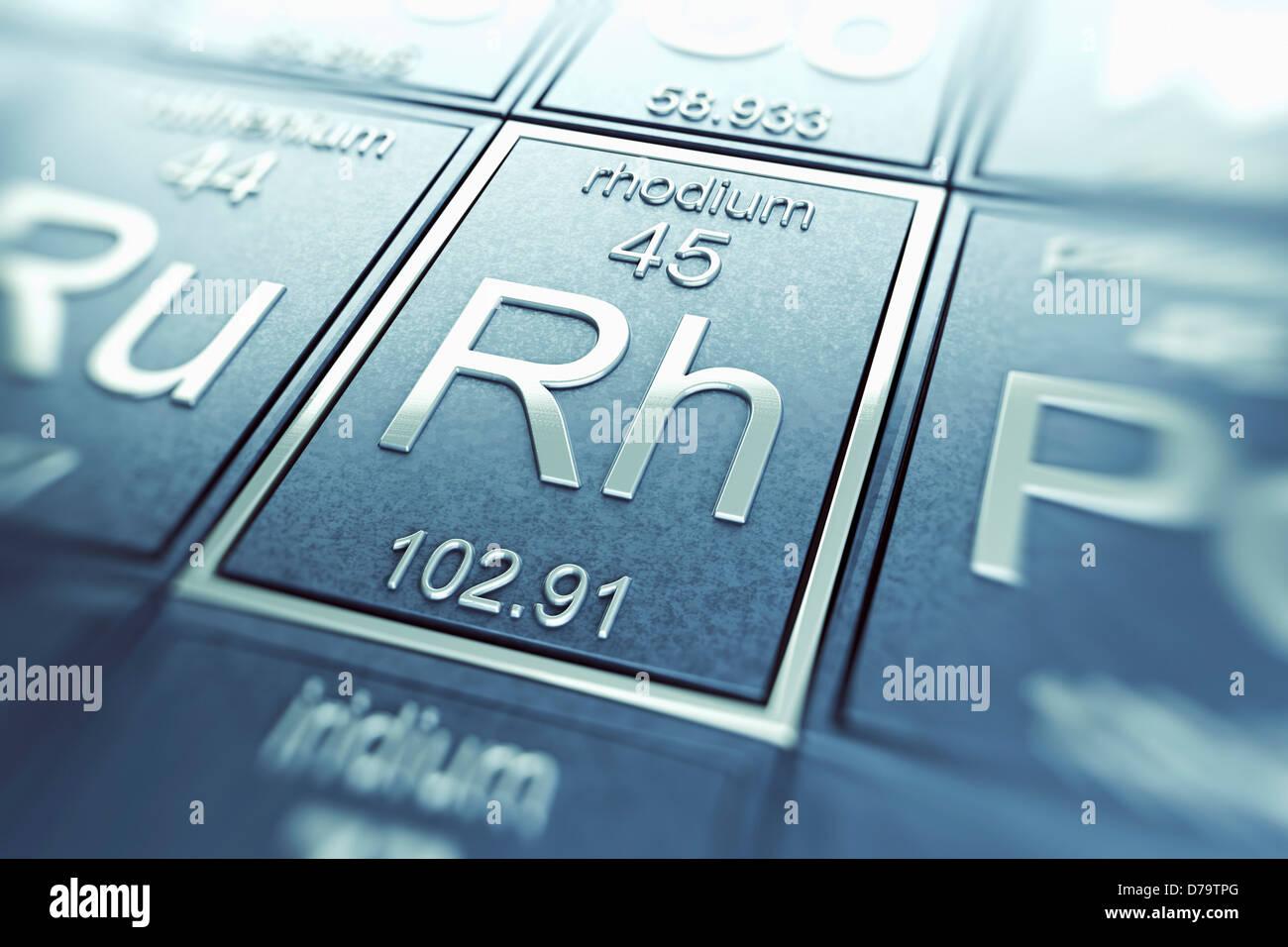 Il rodio elemento chimico) Immagini Stock