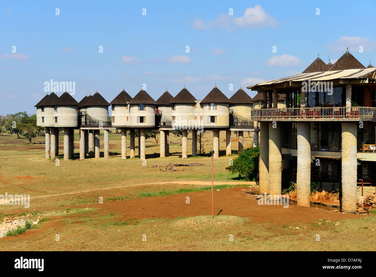 Sarova Salt Lick Lodge in colline di Taita Game Reserve, Kenya, Africa orientale Immagini Stock
