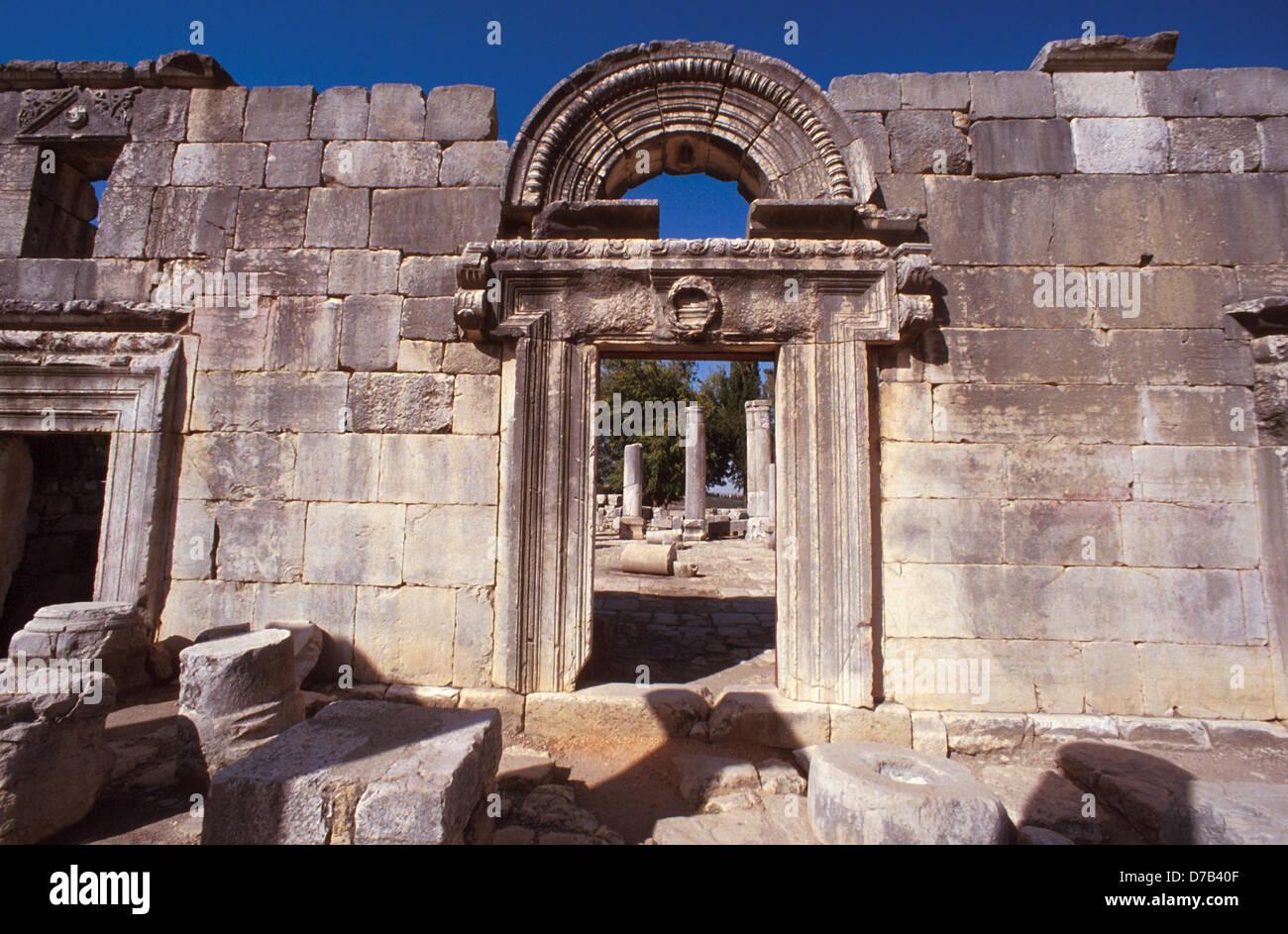 Rovine dell antica sinagoga di Baram Foto Stock
