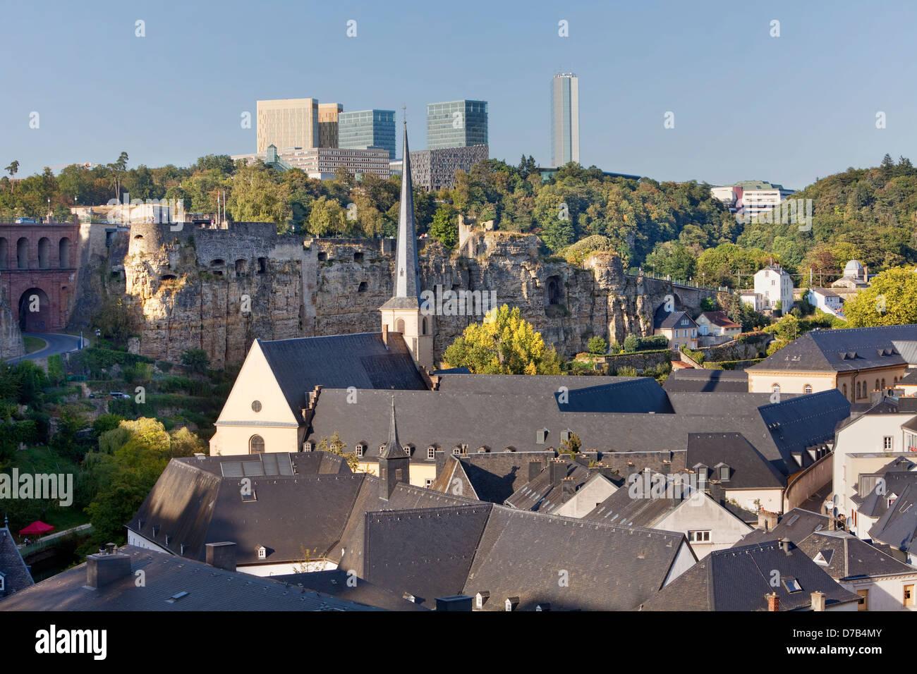 Vista degli edifici dell'UE nel quartiere europeo, Kirchberg-Plateau, città di Lussemburgo, Europa Immagini Stock