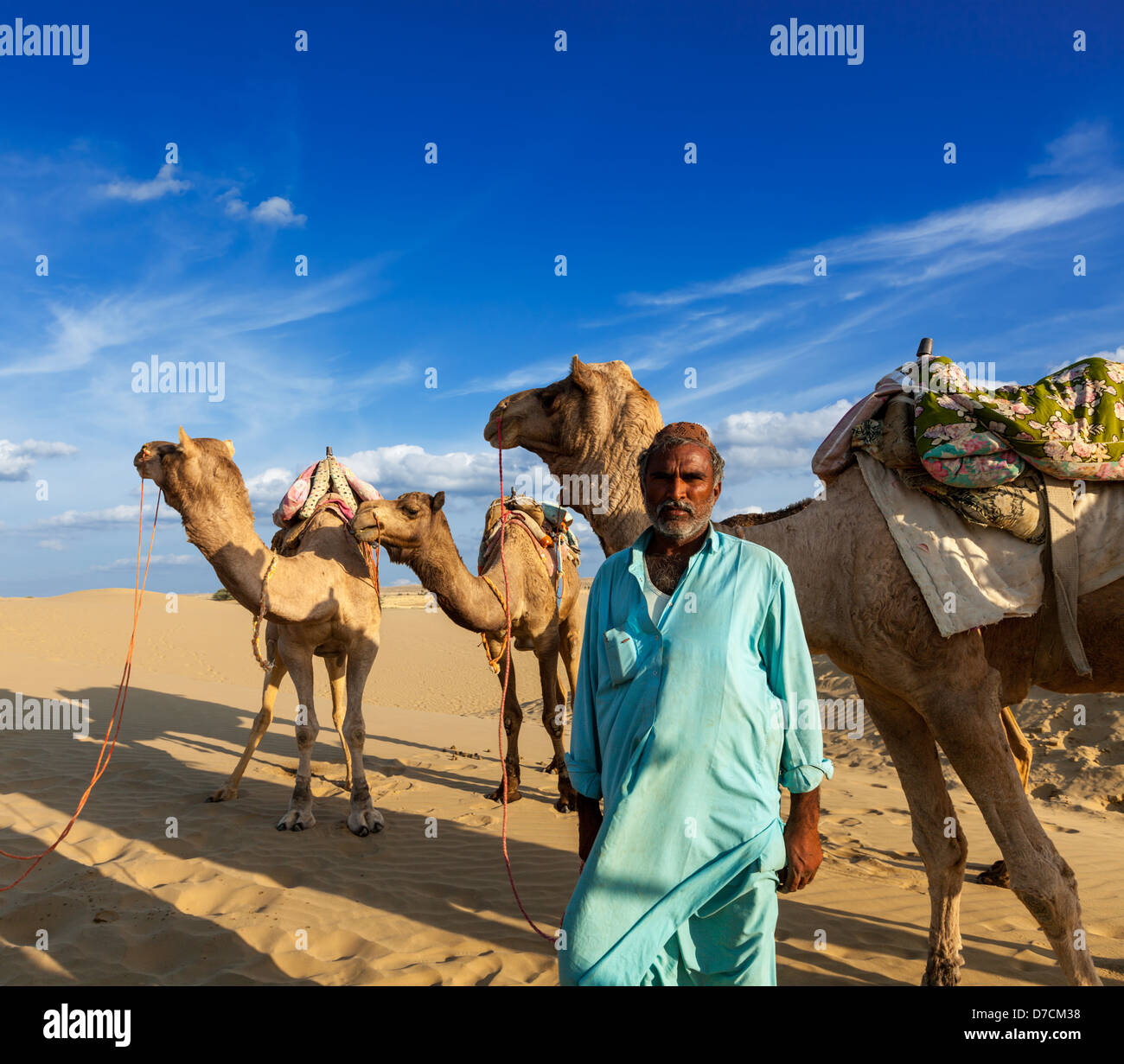 Rajasthan travel background - uomo indiano cameleer (camel driver) ritratto con i cammelli in dune del deserto di Immagini Stock