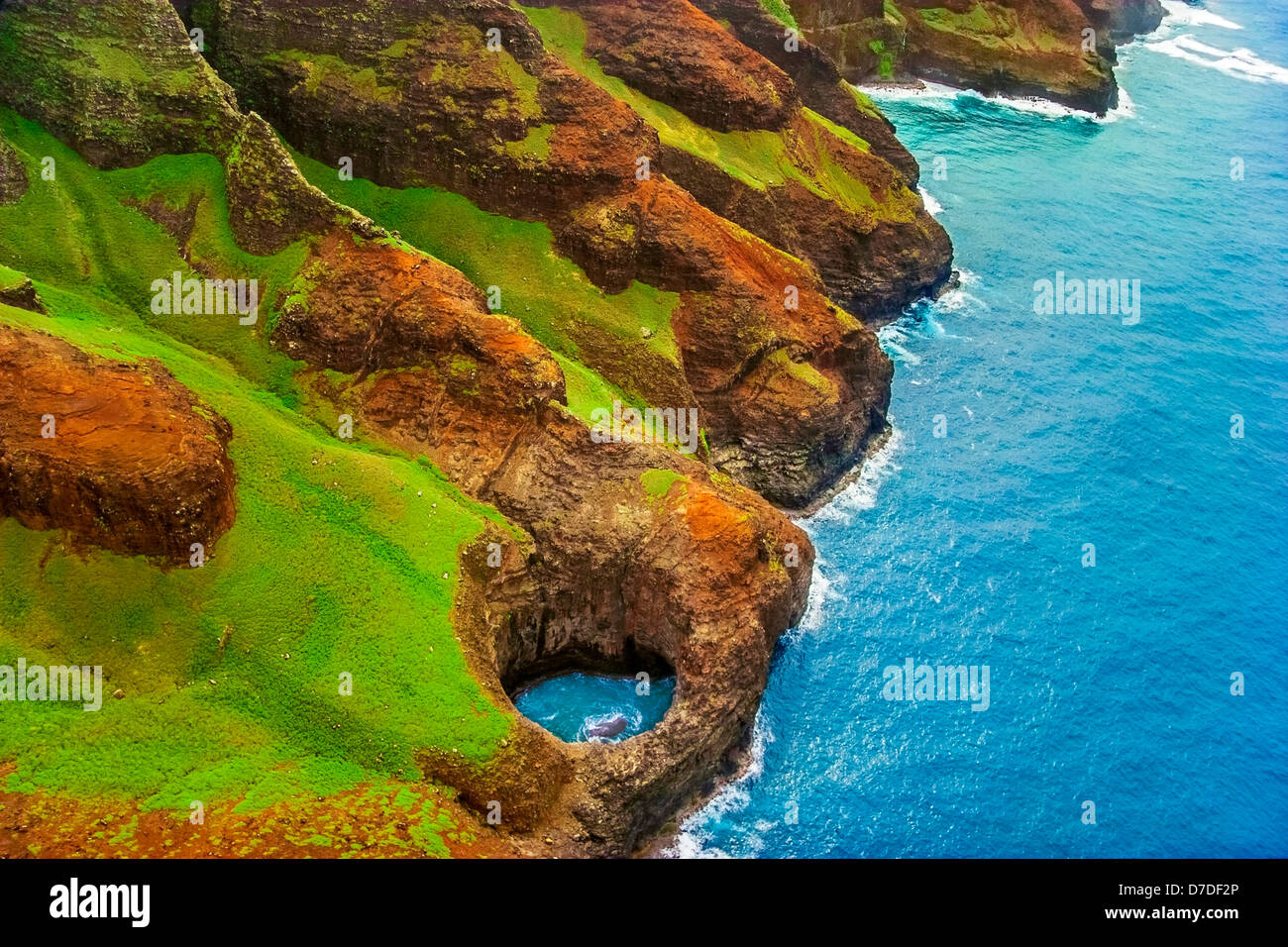 Costa di Na Pali vista, Kauai, Hawaii, STATI UNITI D'AMERICA Immagini Stock
